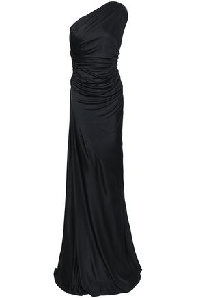 ROBERTO CAVALLI One-shoulder open-back ruched stretch-jersey gown