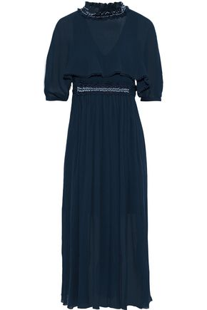 CHLOÉ Bead-embellished cotton and silk-blend georgette midi dress
