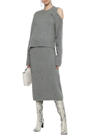 Joseph Woman Cutout Ribbed Cashmere Midi Dress Gray