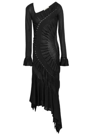 ROBERTO CAVALLI Asymmetric pointelle-trimmed ruched knitted midi dress