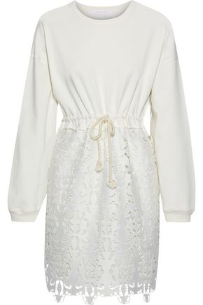 SEE BY CHLOÉ Cotton-jersey and guipure lace mini dress
