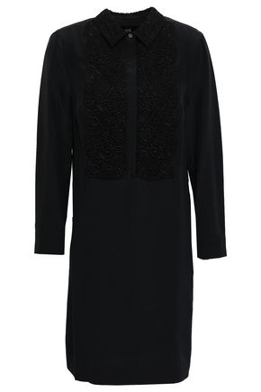 BURBERRY Guipure lace-paneled silk crepe de chine mini shirt dress
