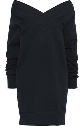 BURBERRY Off-the-shoulder cotton-blend fleece mini dress