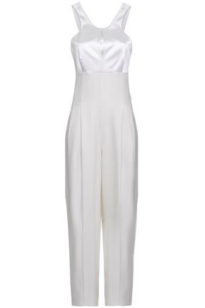 ROBERTO CAVALLI Cutout duchesse-satin and woven jumpsuit