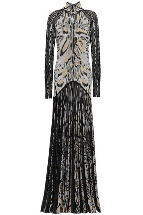 ROBERTO CAVALLI | Roberto Cavalli Cutout Pleated Metallic Leopard-Jacquard Gown | Goxip