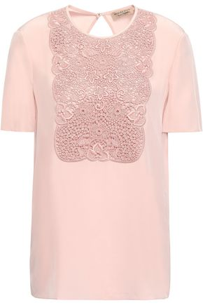 BURBERRY Guipure lace-paneled silk crepe de chine top