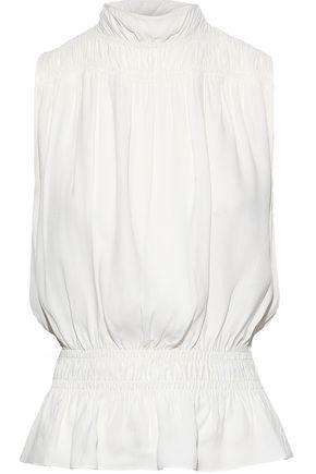 FRAME Shirred washed-crepe peplum blouse