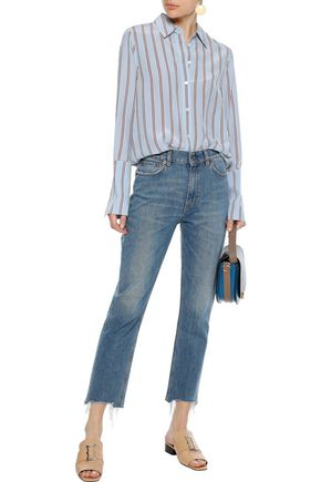 FRAME Striped washed-silk shirt