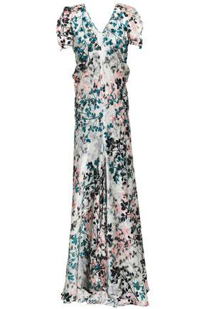 ROBERTO CAVALLI Ruffled embellished floral-print silk-satin gown