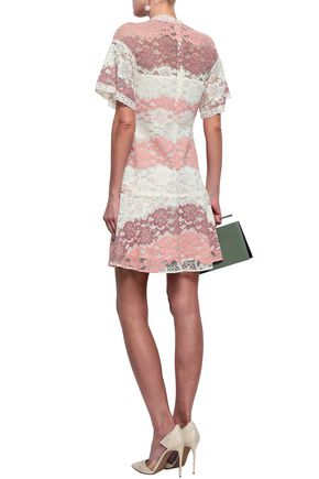 BURBERRY Fluted corded lace mini dress