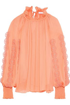 SEE BY CHLOÉ Gathered floral-appliquéd georgette blouse