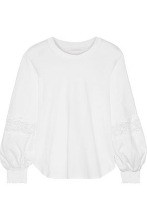 SEE BY CHLOÉ Lace-trimmed cotton-jersey blouse
