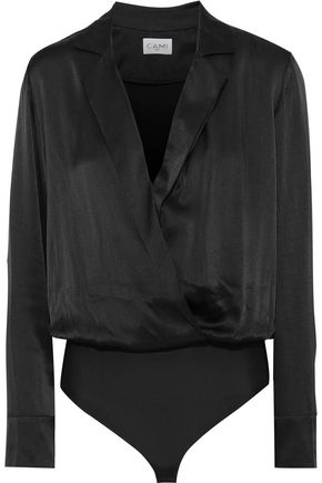CAMI NYC The Andi wrap-effect silk-charmeuse and jersey bodysuit