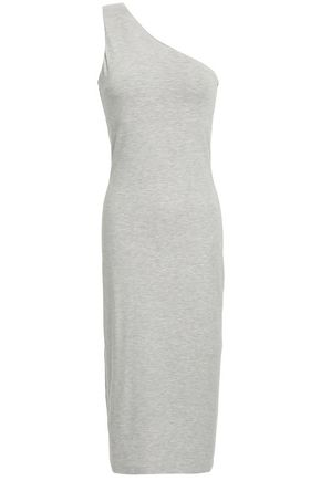 NINETY PERCENT One-shoulder mélange stretch-jersey midi dress