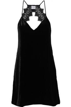 CAMI NYC Open-back lace-trimmed velvet mini dress