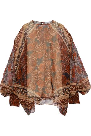CHLOÉ Draped printed silk-georgette blouse
