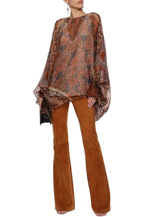 CHLOÉ Draped printed silk-georgette blouse