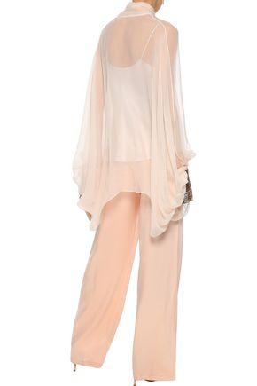 CHLOÉ Pussy-bow sequin-trimmed silk-gauze blouse