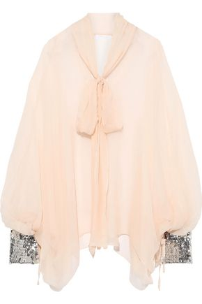 Pussy Bow Sequin Trimmed Silk Gauze Blouse by ChloÉ