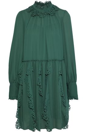 SEE BY CHLOÉ Laser-cut ruffle-trimmed crepe de chine mini dress