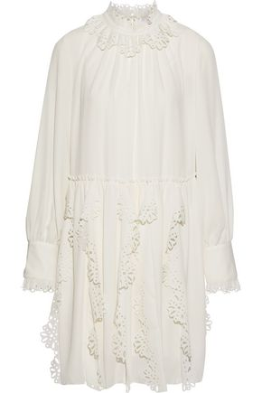 SEE BY CHLOÉ Laser-cut ruffled crepe de chine mini dress