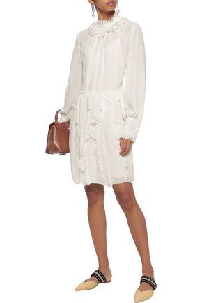 f1f39b64378fd SEE BY CHLOÉ Laser-cut ruffled crepe de chine mini dress