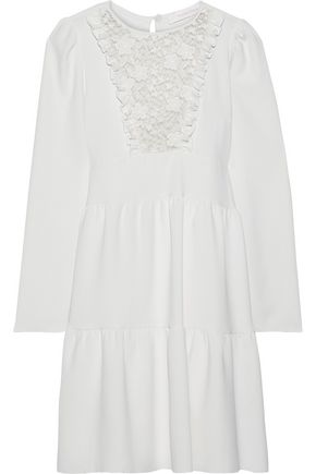 SEE BY CHLOÉ Lace-paneled ruffle-trimmed crepe mini dress