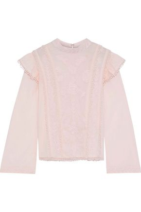 W118 by WALTER BAKER Randy embroidered cotton-poplin blouse