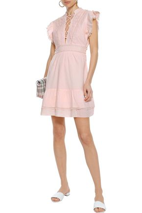 W118 by WALTER BAKER Rudy lace-up embroidered cotton-poplin mini dress