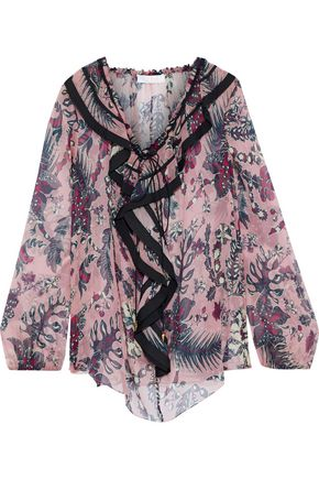 CHLOÉ Ruffled printed silk-georgette blouse