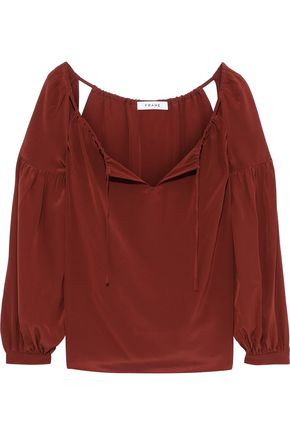 FRAME Cutout gathered washed-silk blouse