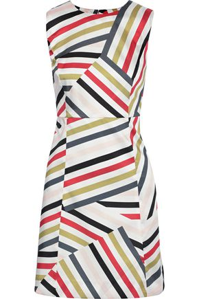 MILLY Striped satin-twill mini dress