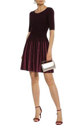 Milly Woman Flared Metallic-Trimmed Ponte Mini Dress Merlot