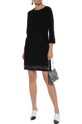 Milly Woman Lace-Trimmed Stretch-Knit Mini Dress Black