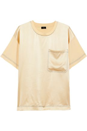 JOSEPH Silk satin-paneled cotton-jersey T-shirt