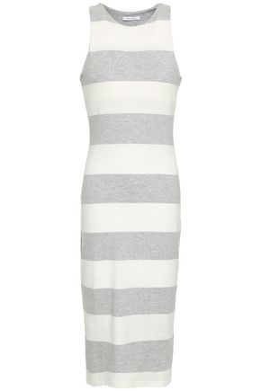 NINETY PERCENT Striped stretch-jersey midi dress