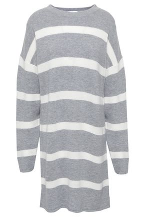 NINETY PERCENT Striped merino wool and cashmere-blend mini dress
