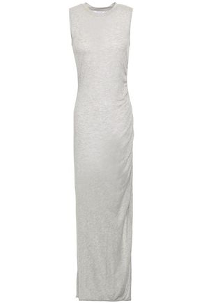 NINETY PERCENT Ruched mélange Tencel maxi dress