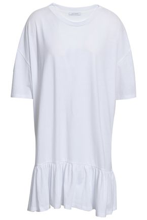 NINETY PERCENT Ruffled mélange cotton-jersey mini dress