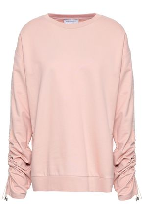 NINETY PERCENT Ruched French cotton-terry sweatshirt