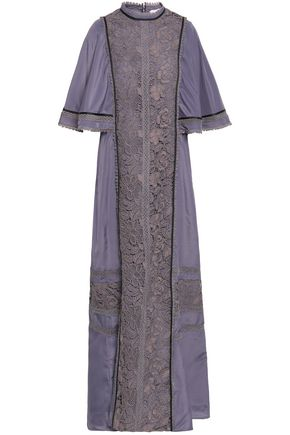 SELF-PORTRAIT Cape-effect corded lace and crepe de chine maxi dress