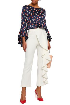 MILLY Fluted floral-print silk-blend satin blouse