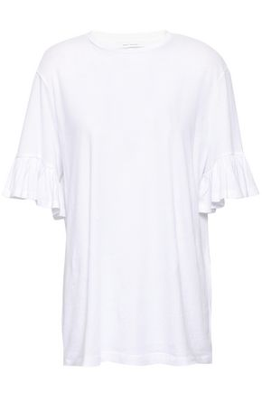 NINETY PERCENT Ruffled mélange cotton-jersey top