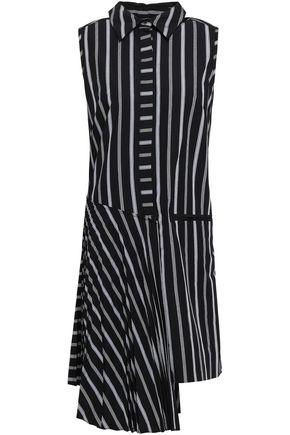 c5d1d46e37 MILLY Andrea asymmetric striped cotton-poplin dress