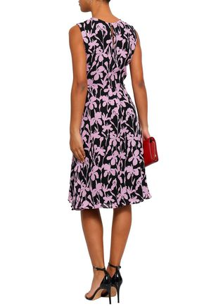 MILLY Gathered floral-print silk-georgette dress