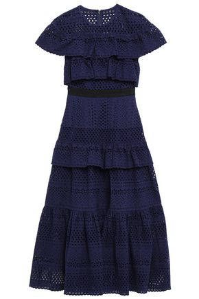 SELF-PORTRAIT Tiered broderie anglaise cotton midi dress