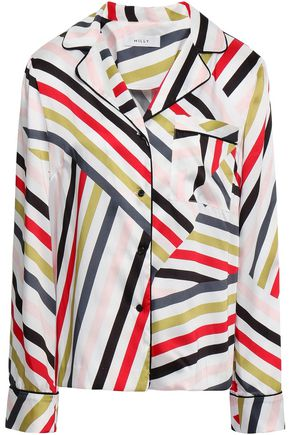 MILLY Striped satin-twill shirt