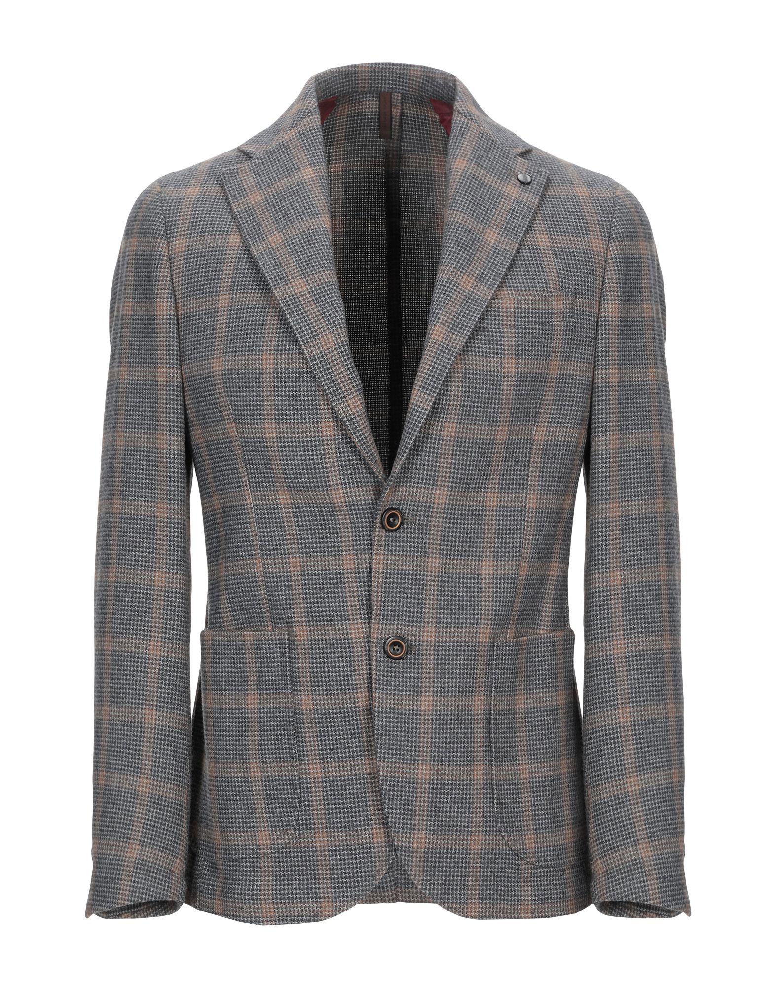 《期間限定セール中》LABORATORI ITALIANI メンズ テーラードジャケット グレー 48 ウール 40% / コットン 30% / ポリアクリル 14% / ポリエステル 11% / 指定外繊維 5%