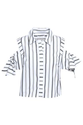 MILLY Cold-shoulder knotted striped cotton-poplin shirt