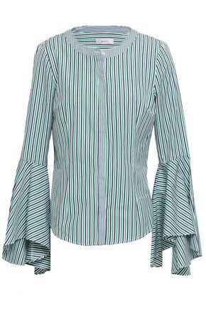 MILLY Fluted striped cotton-poplin shirt